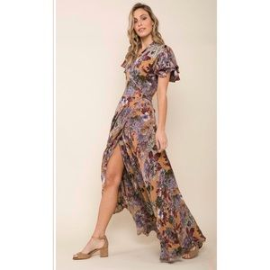 RAGA Dear Dahlia Wrap Maxi Dress Floral Sz S